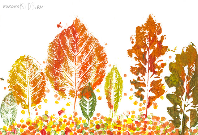 树叶拓印搭配剪纸粘贴画.