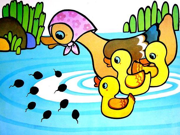 教师:调皮的小蝌蚪和妈妈游散了,青蛙妈妈可着急了.图片