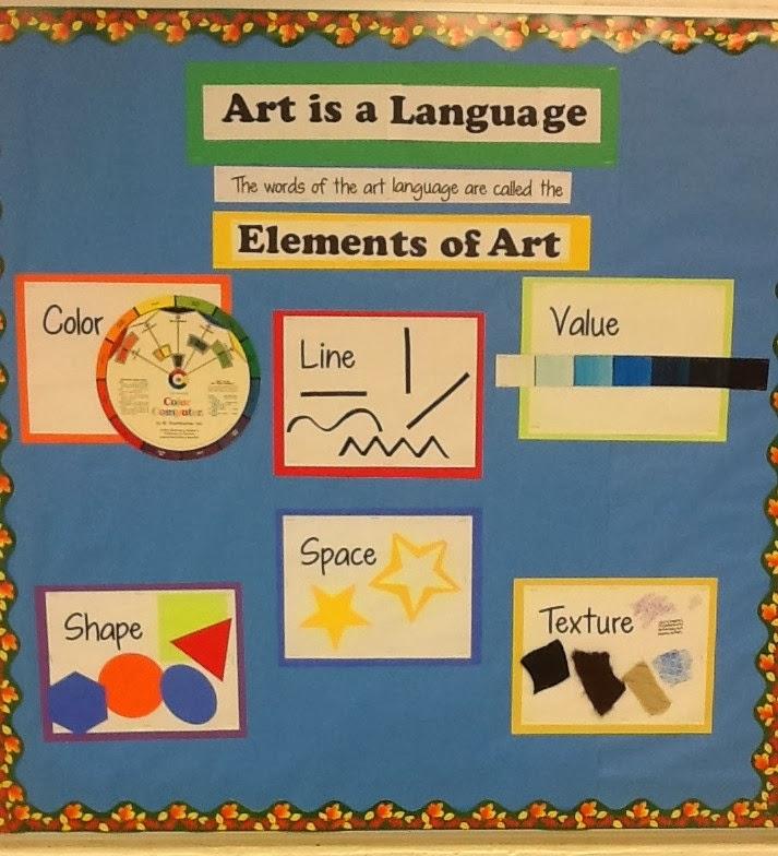 美术室公告栏想法 Elements of Art艺术元素 这里呈现了常用的艺术元素,包括颜色,线条,深浅,形状,空间,质地等。  Color Theory色彩理论 这个主题墙上面很直观的展示了冷暖色都有哪些,颜色的混合,色环等色彩理论,非常实用。  这是其中一面作品展示墙  Famous Artist Around the World that we study throughout the school year.