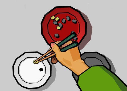 一、搬运物品 需要筷子数:1双 效果:可以培养孩子的注意力,提高手臂肌肉的调节能力。 玩法:给孩子一双筷子,让他平着端好。你在筷子上放一些比较轻的东西,让孩子平端着筷子从桌子的这一边搬运到另一边去。 提示:搬运的东西不同,难度也不同。1块小蛋糕、1块饼干、多块饼干、1个乒乓球、1颗花生米、一粒豆子也可以来个小比赛,宝宝会玩得更带劲。  二:夹豆子 需要筷子数:1双 效果:可以锻炼孩子的手眼协调能力,提高精细动作水平。 玩法:准备两个盘子,在其中的一个盘子里放上一些豆子,让孩子用筷子把豆子夹到另一个空盘子