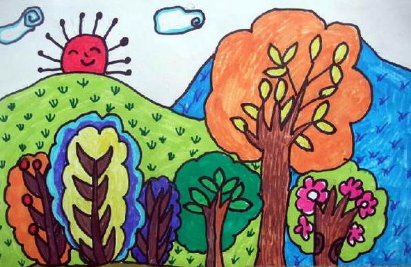 (二)引导幼儿通过添画彩色的树叶,给大树妈妈穿衣裳.