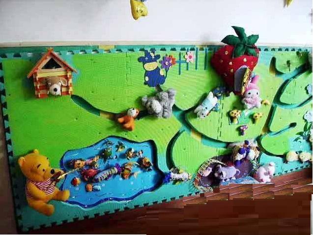 互动墙 区域 小动物换衣服 想想小兔子,小狗,小猫分别爱吃什么食物呢