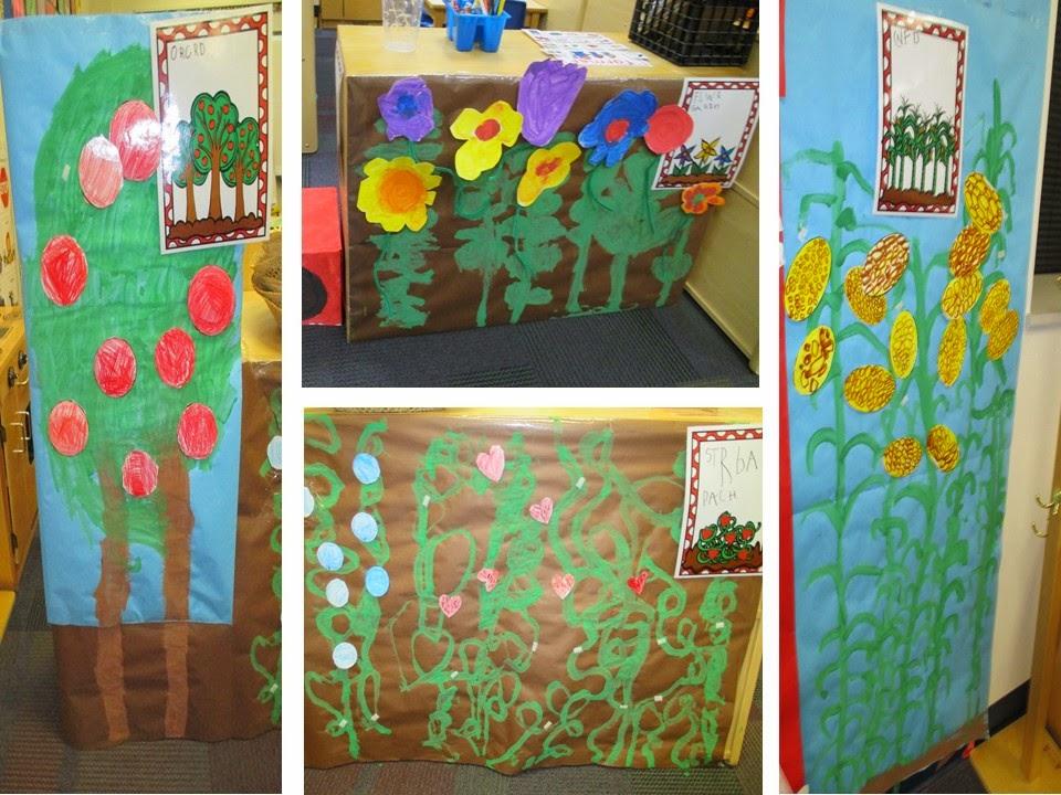 我们在美工区中画出了植物的果实和花朵,将他们剪下来,在这个活动中图片