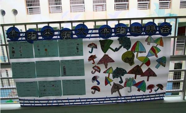 幼儿园主题班级墙饰《伞花朵朵开》