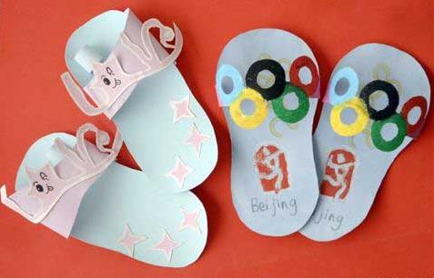 中班手工教案: 制作美丽小拖鞋图片