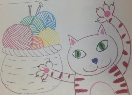幼儿手工--玩线团的小猫咪