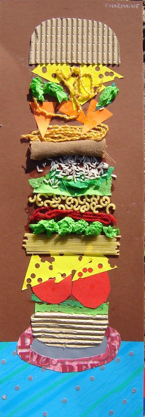 如果让你画一个汉堡,你会怎么画? 这样?  还是这样?  以上都属于传统绘画。今天Summer带大家玩点不一样的。 把角落的废旧纸箱撕下一块,捡起做手工的下脚料,边边角角的海绵纸、断了的绳子摆一摆、碎布头卷一卷、毛线团一团、皱纹纸揉吧揉吧,如果还想加点料的话,可以把大米或者意大利面撒上点。 一个非同凡响的综合材料汉堡,就出炉了。  孩子对物质材料有着本能的好奇心和探索欲望。老师可以和孩子们一起寻找材料,也可以把材料提供给孩子让他们自由发挥。 彩笔的颜色组合远不如材料的组合方式更多更出彩。  在操作活动中