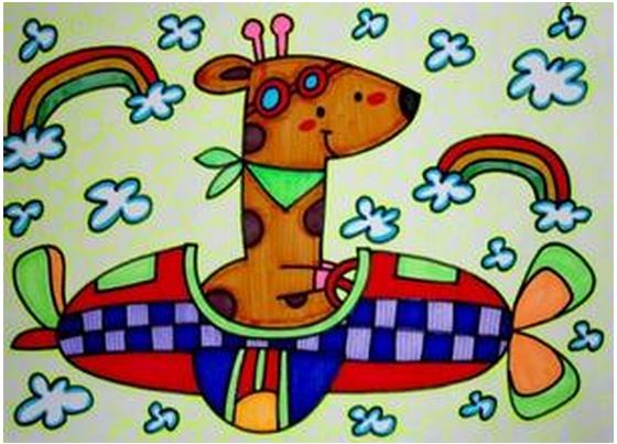 勾线笔,绿色纸,油画棒,背景音乐 活动过程:  一,讨论演示绘画长颈鹿