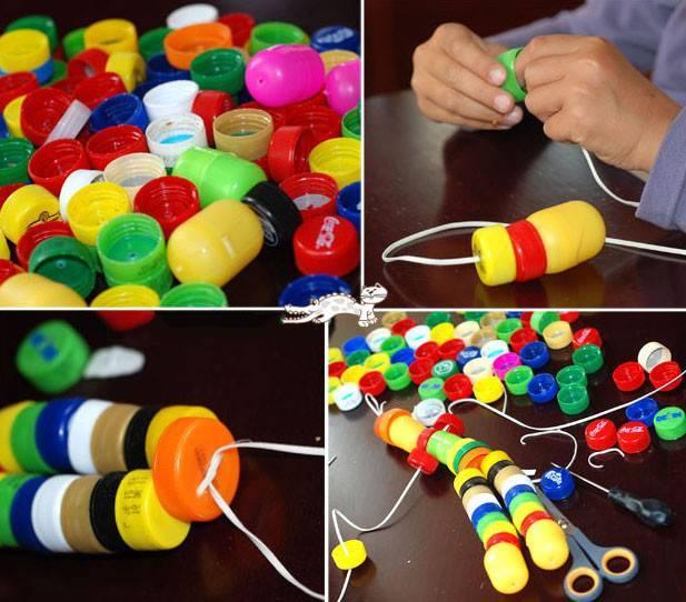 请孩子们收集瓶盖来制作小手工吧