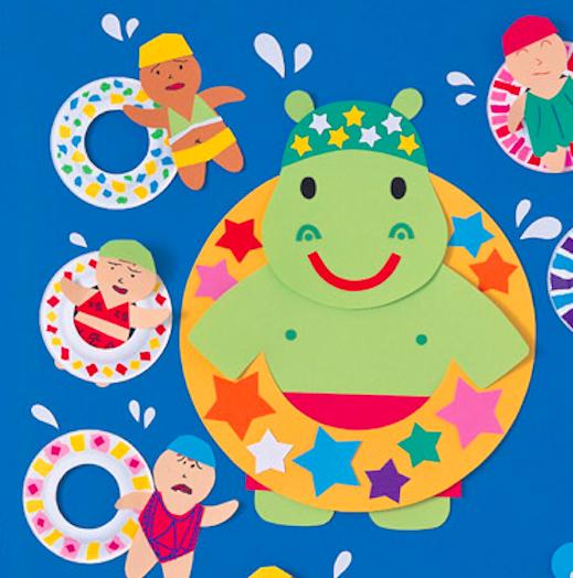 夏天,太陽公公十分精神!小朋友們可以吃冰激淩、玩水,好開心啊! 利用各類手工材料,制作涼爽夏日的牆面吧。制作方法都很簡單,還可以讓孩子們也參與其中。  口味多多冰淇淋小店  适用班級:小班、中班、大班  冰淇淋的制作也很簡單,Summer已經為大家準備好了,快帶小朋友們做起來吧~ 準備正方形黃色彩紙、兩個顔色不同的細長紙條(鄰近色效果更佳)、橙色馬克筆、膠棒  将黃色紙張如圖折一下,做出冰淇淋雛形  将兩種顔色的紙條粘為一條,按照下圖正反折,再在冰淇淋蛋托上畫好斜線格子,美味的冰淇淋就做好咯~  還可
