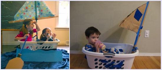 只要加上一个窗帘和木棍做成的船帆,小小航海家就可以乘坐1:1比例的