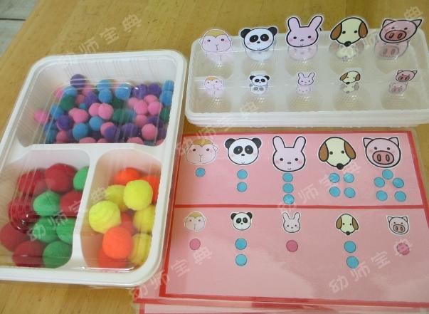 小班自制玩教具 1,小动物吃多少 目的:发展幼儿的数理逻辑智能,练习5