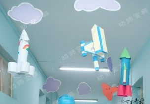 走廊 | 师幼家长通力合作的宇宙航天主题环创,孩子们都爱疯啦