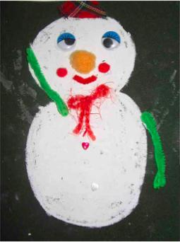 中班手工活动 | 制作有雪人的贺卡