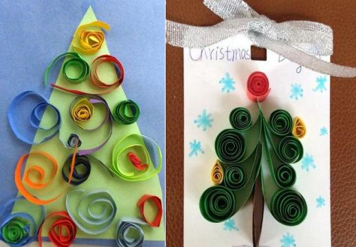美丽的圣诞树是圣诞节不可缺少的重要元素,今天,幼师宝典就带大家一起看看那些圣诞树手工的花样制作。 1、蛋托圣诞树(小班) 虽说蛋托是宝贝,但是脑洞大开的歪果仁竟然想到能把蛋托做成圣诞树,小编真是佩服啊!把蛋托顶部剪下来,按圣诞树的样式贴在纸上。让小朋友涂上喜欢的颜色,随意装饰,一个独具个性的圣诞树就诞生啦!  2、剪纸圣诞树(中班) 剪纸的魅力就在于不断的变换与组合,用简单的操作方法就能得到复杂多样的图形样式。用这种方法制作的圣诞树装饰贺卡最适合不过了。   3、编织圣诞树 毛线缠绕的立体圣诞树(小班