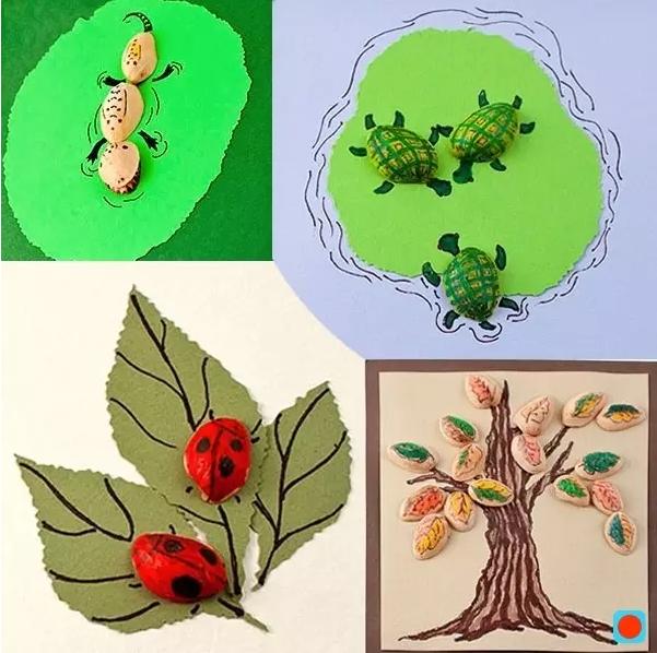 开心果壳上画出鸟儿的形状,粘在素描纸上,再在素描纸上画出鸟儿的尾巴