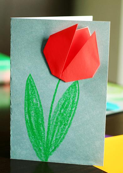 贺卡一   技能:折纸 郁金香花苞的难易程度适中,再配上一张明亮的