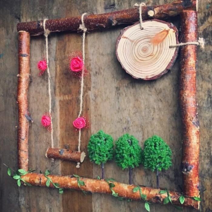 一段结实的树枝,稍加装饰,就能制作出完美的生日墙.