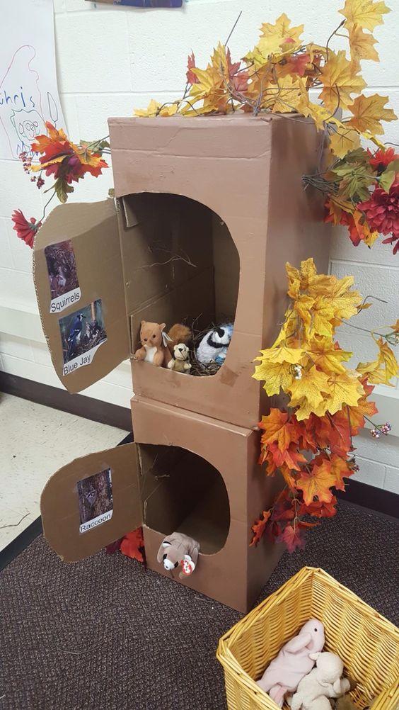 旧纸箱不要扔,给小动物们布置一个舒适的森林公寓吧!