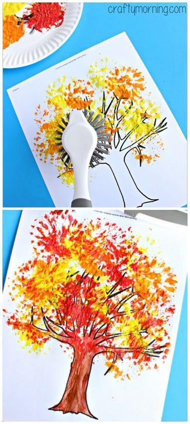 操作十分简便,让孩子们拿起画笔,在纸盘中央画一棵美丽的大树即可.图片