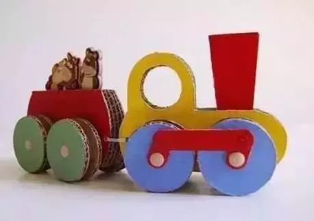制作步骤: 第一步:把硬纸板切割成组合火车模型的配件.