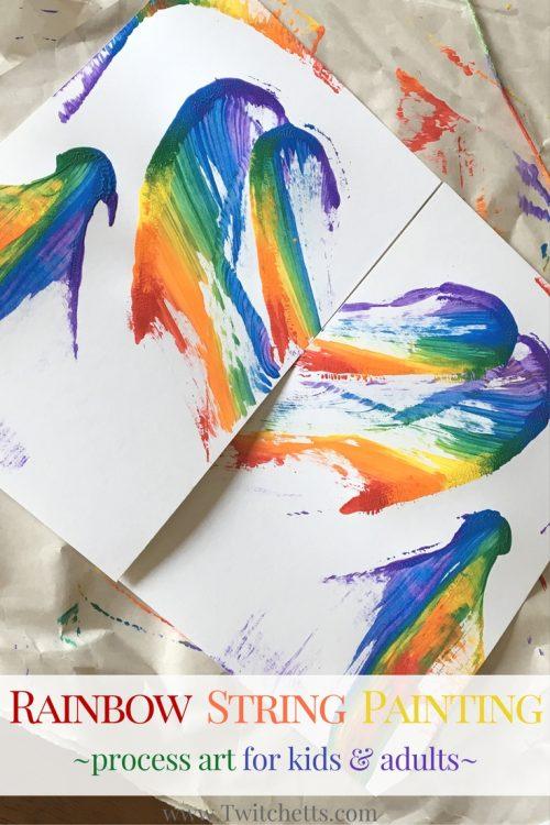 水粉笔,将不同的颜料滴到一根线上,做出一根彩虹线段, 这样画出来的