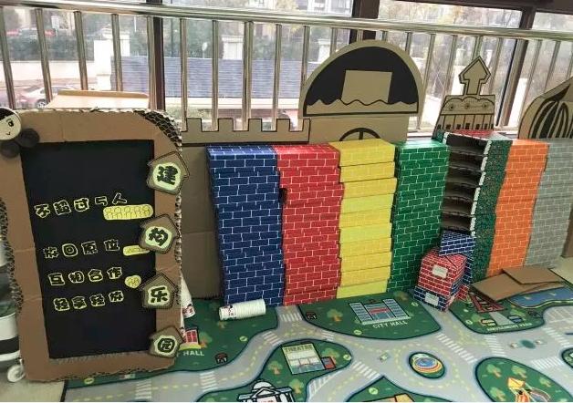 纸箱做的建构区背景墙,由于是建构区,老师们可以做一些城堡房子的造型图片