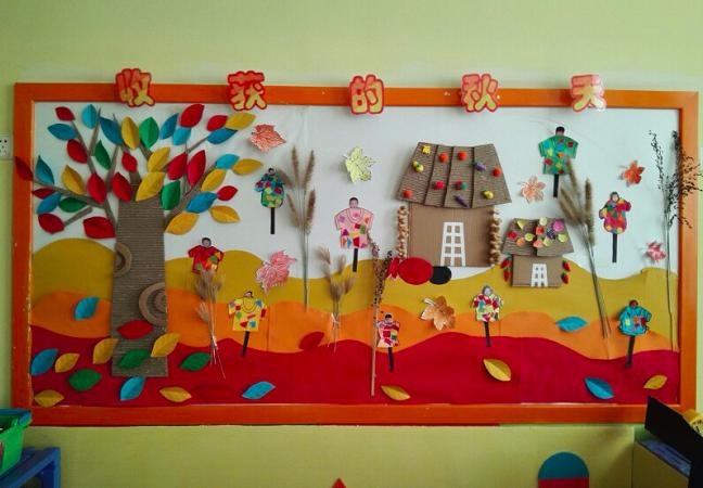 创设丰收了主题墙可将各种秋季丰收的瓜果蔬菜用图片,照片,实物,手工图片