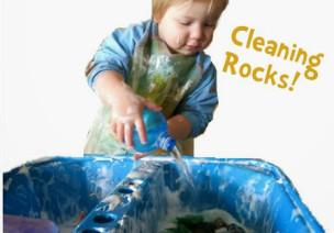 清理岩石,幼儿感官游戏