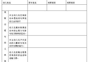 半日开放活动观察表、家长调查表、教师评价表