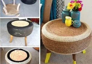 废旧轮胎改造成桌椅