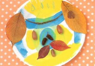 大自然的可爱艺术创想-纸盘树叶