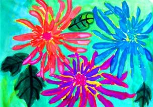 大班美术活动:水粉画——菊花