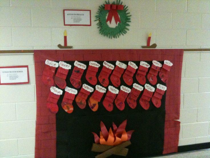 圣诞墙面布置 | 暖烘烘的壁炉