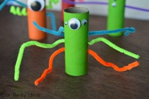 green-crazy-monster.-Great-kids-craft-made-from-empty-toilet-paper-tubes-300x199