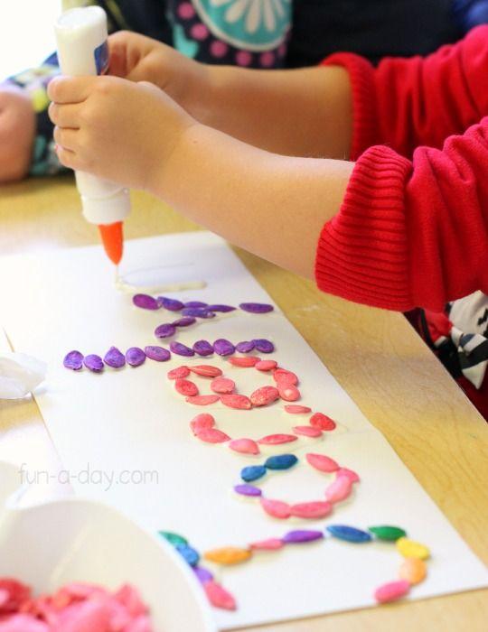 Colorful-pumpkin-seeds-name-activities-for-preschoolers