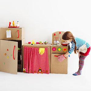 纸箱做的娃娃家,自制豪华全套家具来袭!双11的纸箱有用了~