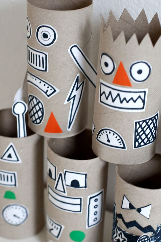 神秘图腾-手工 卷纸筒涂鸦搞定区角和环创,纸筒上画画就是不一样