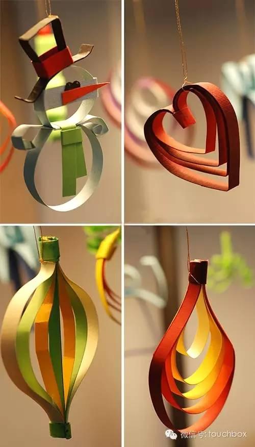 圣诞节吊饰 | 普通的纸条、纸板竟也能做出漂亮的吊饰!