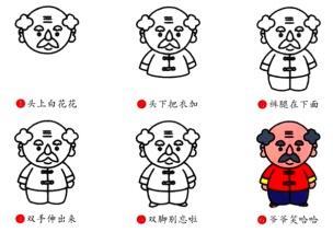 重阳节素材   6款带口诀的老人简笔画+4首儿歌视频